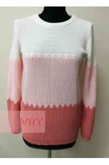 Джемпер женский 182-4737 Фемина (Земляника/жемчужно-розовый/белый)