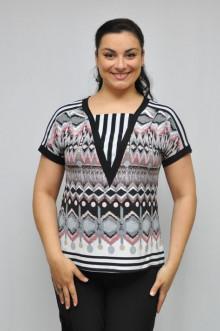"""Блуза """"Олси"""" 1210012 ОЛСИ (Орнамент черно-серый)"""